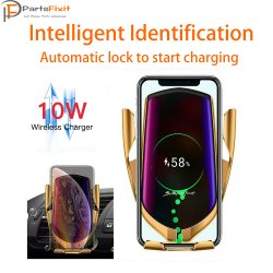 R2 10W Wireless Car Charger Car Phone Holder Infrared Auto Clamp Charge Mount for Wireless Charging Smart Phone