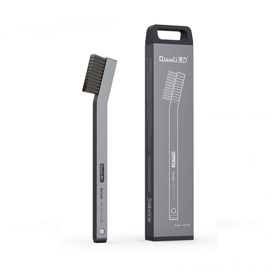 Qianli iBrush DS1102 Multifunctional Steel Brush Aluminum Alloy Handle with Magnetizer Function Silver Gray Brushed Texture