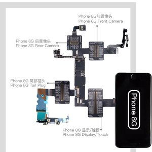 QianLi PCBA Front Camera/Rear Camera/Dock Connector/Touch Testing Cable for iPhone 8