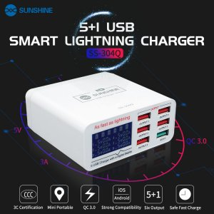 6 USB Smart Charge Support QC 3.0 Fast Charge Applicable to iPhone and Android #SUNSHINE