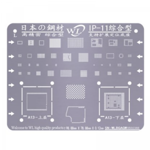 WL Universal BGA Reballing Stencil Kit Tin Mesh Solder Template for iPhone 11 11 Pro 11 Pro Max