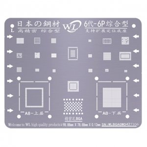 WL Universal BGA Reballing Stencil Kit Tin Mesh Solder Template for iPhone 6 6 Plus