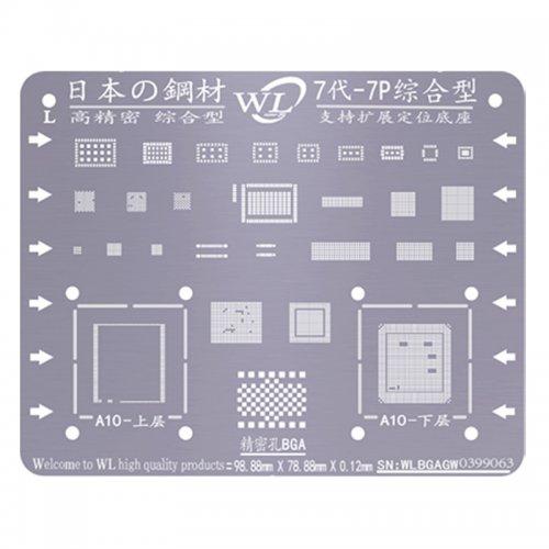 WL Universal BGA Reballing Stencil Kit Tin Mesh Solder Template for iPhone 7 7 Plus