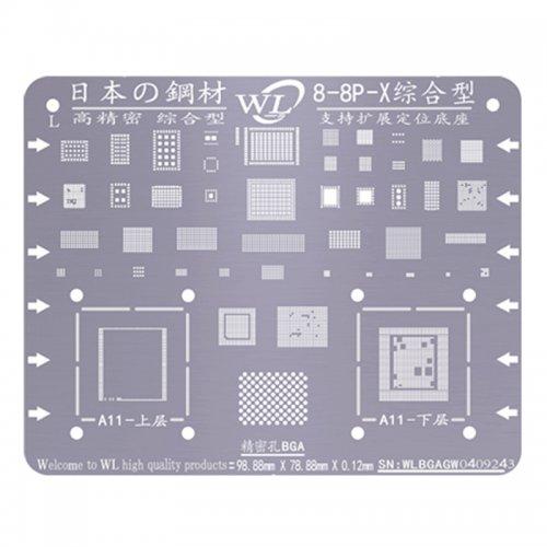WL Universal BGA Reballing Stencil Kit Tin Mesh Solder Template for iPhone 8 8 Plus x