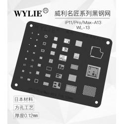 WYLIE Black BGA Reballing Stencil for iP11/iP11 Pro/11 Pro Max