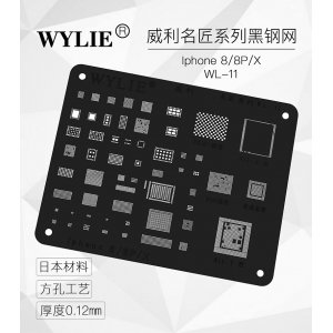 WYLIE Black BGA Reballing Stencil for iP8/8+/X