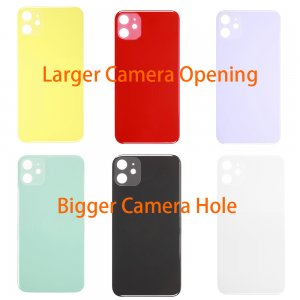 For iPhone 11 Back Glass with Bigger Camera Hole Larger Camera Opening
