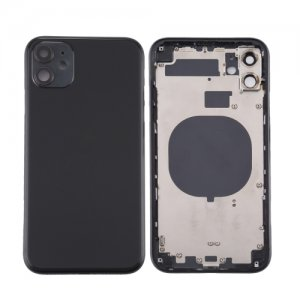 For iPhone 11 Back Housing with Side Buttons Black