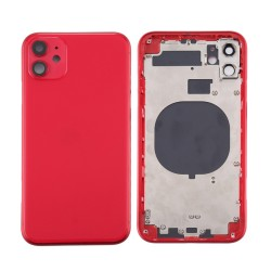 For iPhone 11 Back Housing with Side Buttons Red
