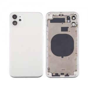 For iPhone 11 Back Housing with Side Buttons White