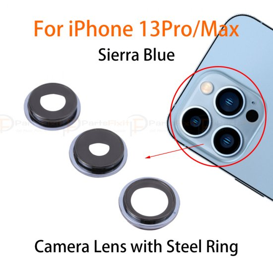 For iPhone 13 Pro/ 13 Pro Max Back Camera Lens with Steel Ring