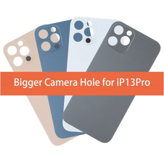 For iPhone 13 Pro Back Glass with Bigger Camera Hole OEM Premium
