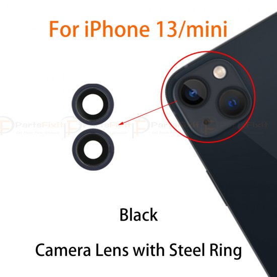For iPhone 13/13 Mini Back Camera Lens with Steel Ring