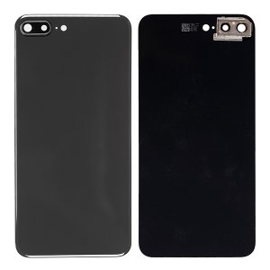 For iPhone 8 Plus Back Glass with Camera Holder Black