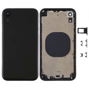 For iPhone XR Battery Cover with Side Keys Black