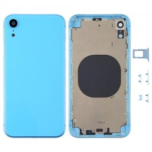 For iPhone XR Battery Cover with Side Keys Blue