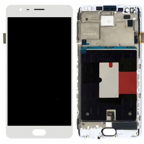 OnePlus 3 3T LCD Screen Replacement With Frame White OEM