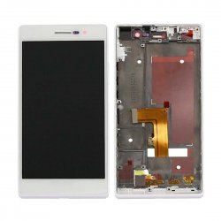 LCD with Frame for Huawei Ascend P7 White