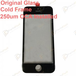 For iPhone 5S Front Glass with Frame and OCA Pre-installed Black Original Glass Cold Press