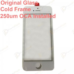For iPhone 5S Front Glass with Frame and OCA Pre-installed White Original Glass Cold Press