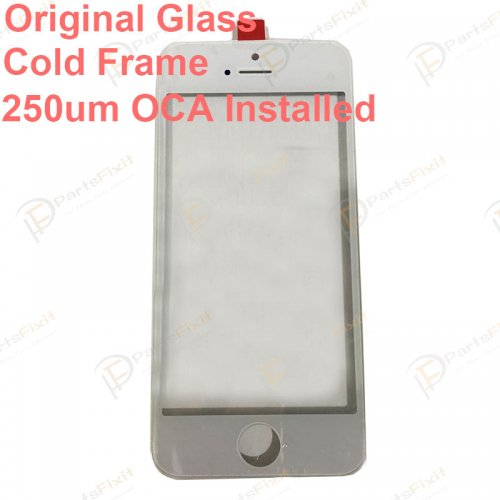 For iPhone 5 Front Glass with Frame and OCA Pre-installed White Original Glass Cold Press