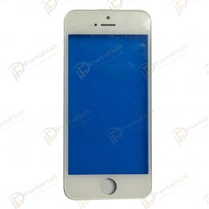 For iPhone 5s Front Glass with Frame White Cold Press