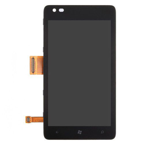LCD Screen and Digitizer Assembly Replacement with Frame for Nokia Lumia 900 Black