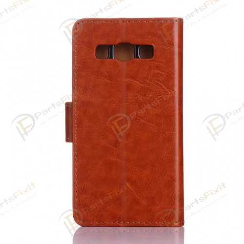 Crazy Horse PU Wallet Leather Cover Case with Credit Card Slot Design Brown for Samsung Galaxy A3