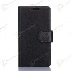 Crazy Horse PU Wallet Leather Cover Case with Credit Card Slot Design Black for Samsung Galaxy A3