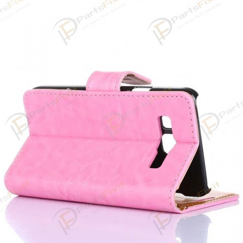 Crazy Horse PU Wallet Leather Cover Case with Credit Card Slot Design Pink for Samsung Galaxy A3