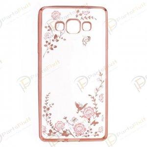 Secret Garden Plating Build Diamond Rose Flowers Butterfly Case Ultrathin Soft TPU Rose Gold Frame Pink Flower Phone Case for Samsung