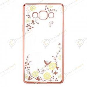 Secret Garden Plating Build Diamond Rose Flowers Butterfly Case Ultrathin Soft TPU Rose Gold Frame Yellow Flower Phone Case for Samsung