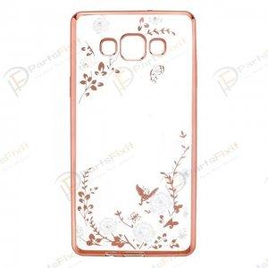 Secret Garden Plating Build Diamond Rose Flowers Butterfly Case Ultrathin Soft TPU Rose Gold Frame White Flower Phone Case for Samsung