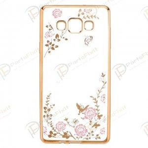 Secret Garden Plating Build Diamond Rose Flowers Butterfly Case Ultrathin Soft TPU Gold Frame Pink Flower Phone Case for Samsung