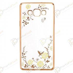 Secret Garden Plating Build Diamond Rose Flowers Butterfly Case Ultrathin Soft TPU Gold Frame Yellow Flower Phone Case for Samsung