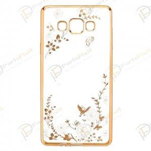 Secret Garden Plating Build Diamond Rose Flowers Butterfly Case Ultrathin Soft TPU Gold Frame White Flower Phone Case for Samsung