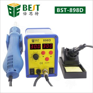 BST-898D double LED display 2 IN 1 intelligent leadfree hot air gun with helical wind+ solder station-double LED display desolder station +solder iron