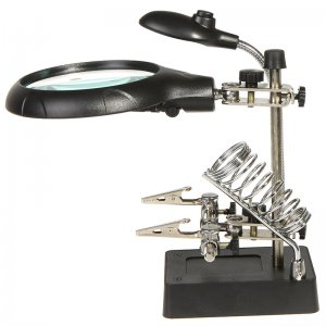 LED Light Magnifier Helping Hand Auxiliary Clamp Alligator Clip Stand MG16129-C for Phone Repair