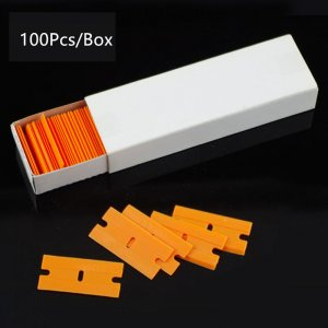 100pcs Plastic Razor Scraper Blades for Glue Removal