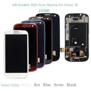 LCD Screen Digitizer Assembly For Samsung Galaxy S3 i9300 With Front Housing -Colors can be selected