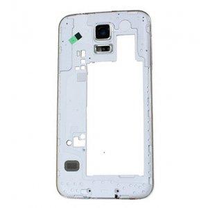 Middle Frame for Samsuang Galaxy S5 G900 White with Black Ear Speaker Mesh