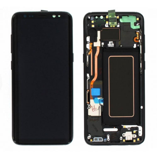 Screen Replacement With Frame for Samsung Galaxy S8 Black Original