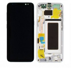 Screen Replacement With Frame for Samsung Galaxy S8 Silver Original