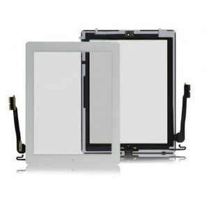 OEM Touch Screen Digitizer Assembly with Front Camera Holder + Home Button + Home Button Holder - White for iPad 4