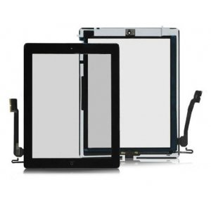 High quality Touch Screen Digitizer Assembly with Front Camera Holder + Home Button + Home Button Holder - Black for iPad 4