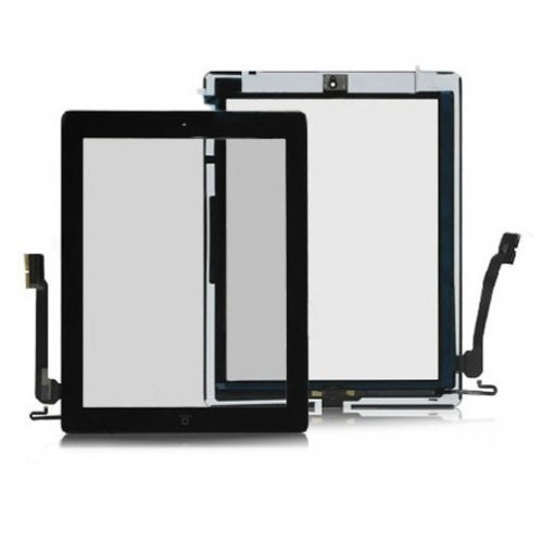 OEM Touch Screen Digitizer Assembly with Front Camera Holder + Home Button + Home Button Holder - Black for iPad 4