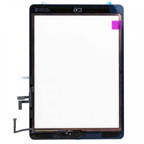 High quality Black for iPad Air Touch Screen Assembly( Camera Holder + Home Button + Home Button Flex Cable + Touch Screen Digitizer Adhesive)