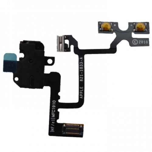 Original Black Headphone audio jack flex cable for iPhone 4