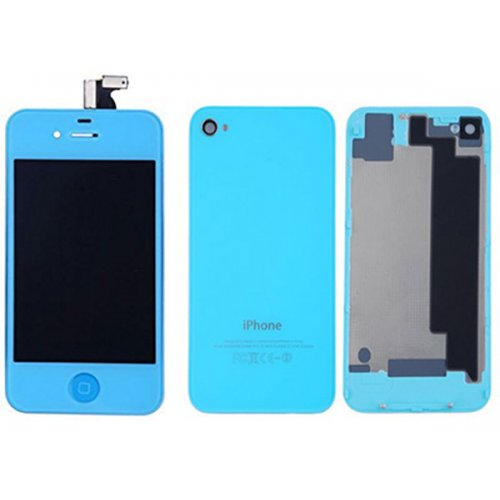 Baby Blue LCD Display Touch Screen Digitizer with same color Home Button and Back Cove For iPhone 4S