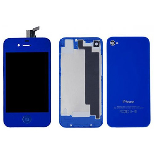 Dark Blue LCD Display Touch Screen Digitizer with same color Home Button and Back Cover For iPhone 4S